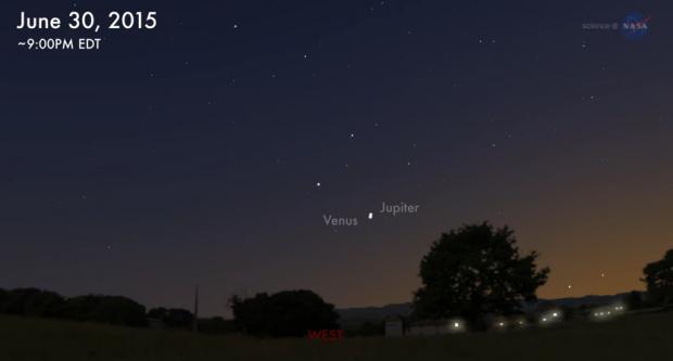 Сегодня ночью можно будет увидеть слияние Юпитера и Венеры (ВИДЕО)