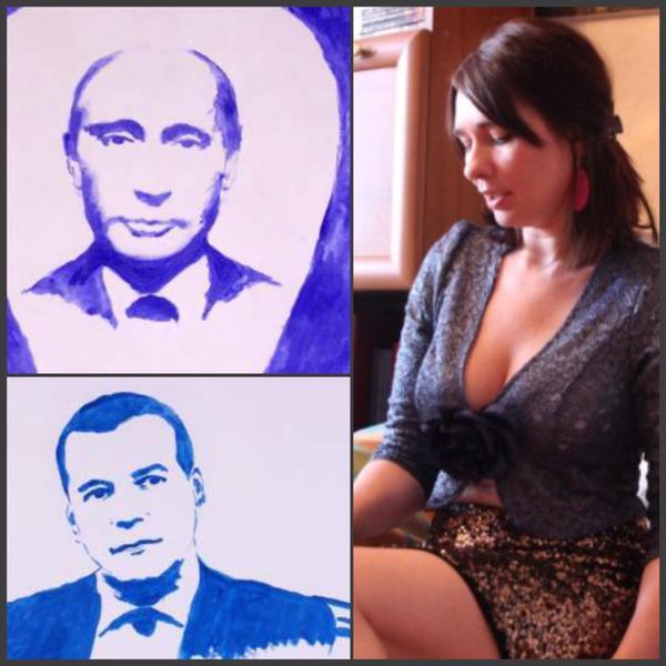 В России портрет Путина художница нарисовала грудью (ФОТО)