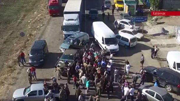 Как блокировали Крым. Появилось видео с беспилотника