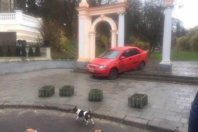 У Львові водій автомобіля сам себе покарав за катання Стрийським парком (Фото)