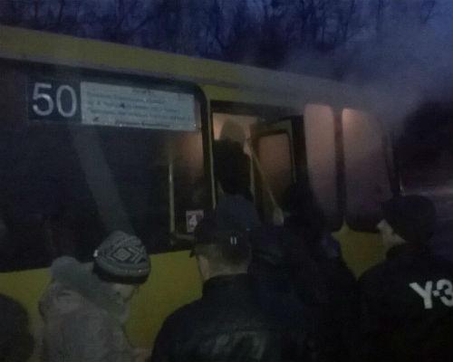 У Львові загорілась маршрутка з пасажирами(ФОТО)