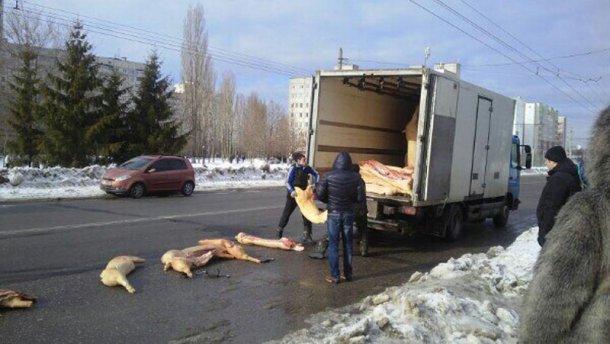Курйозна ДТП у Харкові: вантажівка розгубила свинячі туші по дорозі (ФОТО)