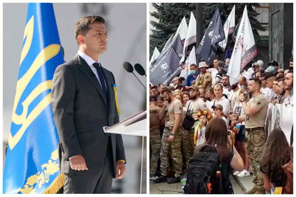 """""""Прорвали"""" кордон поліції! """"Нацкорпус"""" прийшов до Зеленського. Біля ОП масштабний мітинг. Озвучено вимоги!"""