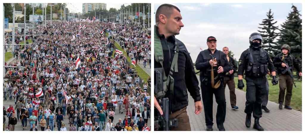 Барикади в центрі Мінська! Світло-шумові гранати і водомети: Лукашенко опирається. Поліцейські силою захищають Бацьку. Що відбувається?